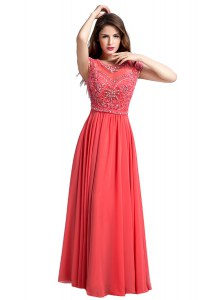 Fitting Scoop Watermelon Red Zipper Prom Dresses Beading Cap Sleeves Floor Length