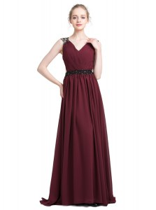 Burgundy Column/Sheath V-neck Sleeveless Chiffon With Brush Train Zipper Lace Evening Dress