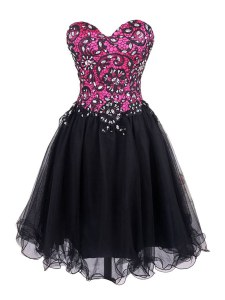 Unique Pink And Black A-line Sweetheart Sleeveless Tulle Mini Length Zipper Beading and Lace Cocktail Dresses