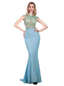 Scoop Light Blue Sleeveless Silk Like Satin Sweep Train Zipper Pageant Dress Wholesale for Prom and Party