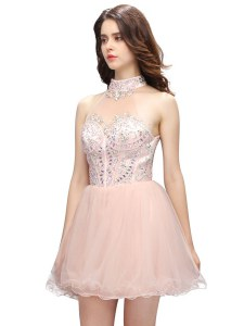 Pink High-neck Zipper Beading Cocktail Dresses Sleeveless