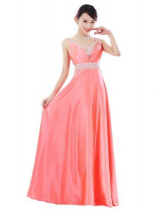 Watermelon Red Zipper Beading Sleeveless Floor Length