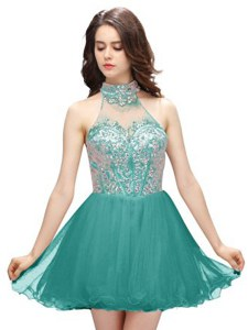 Adorable Teal A-line Organza High-neck Sleeveless Beading Mini Length Zipper Cocktail Dress