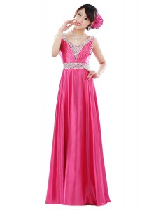 Hot Pink Sleeveless Elastic Woven Satin Zipper Prom Gown for Prom and Party