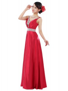 Floor Length Coral Red Prom Dresses Elastic Woven Satin Sleeveless Beading