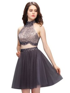 Spectacular Sleeveless Beading Zipper Cocktail Dress