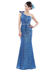 One Shoulder Floor Length Zipper Prom Dresses Blue for Prom and Party with Sequins