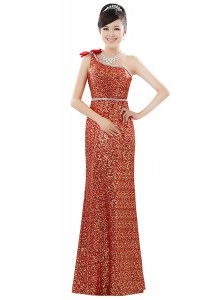 Elegant Orange Prom Dress Prom and Party and For with Beading and Sequins One Shoulder Sleeveless Zipper