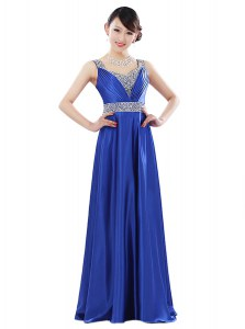 Sleeveless Floor Length Beading Zipper Prom Party Dress with Royal Blue