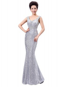 Stylish V-neck Sleeveless Evening Dress Floor Length Sequins Silver Sequined
