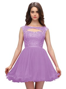 Fabulous Sleeveless Mini Length Beading Zipper Cocktail Dress with Lavender
