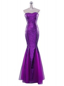 Mermaid Sequins Strapless Sleeveless Zipper Prom Party Dress Eggplant Purple Sequined