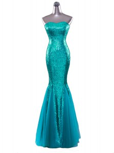 Stunning Mermaid Turquoise Zipper Strapless Sequins Prom Evening Gown Sequined Sleeveless