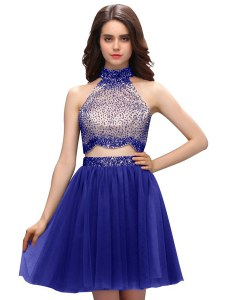 Beading Club Wear Blue Zipper Sleeveless Mini Length