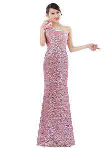 Gorgeous Sequined One Shoulder Sleeveless Zipper Sequins Prom Gown in Pink