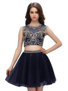 Artistic Scoop Sleeveless Mini Length Beading Criss Cross Club Wear with Navy Blue