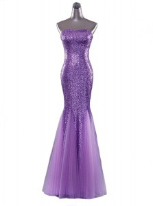 Cheap Mermaid Floor Length Eggplant Purple Prom Dresses Sequined Sleeveless Sequins