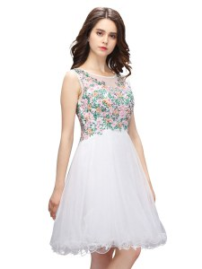 White A-line Organza Scoop Sleeveless Beading and Embroidery Mini Length Zipper Cocktail Dresses