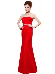 Enchanting Sleeveless Lace Floor Length Zipper Prom Dress in Red with Beading and Lace