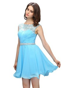 Baby Blue Zipper Scoop Beading Club Wear Chiffon Sleeveless