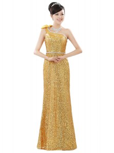 One Shoulder Gold Zipper Prom Dresses Beading and Sequins Sleeveless Floor Length