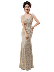 Sequins V-neck Sleeveless Zipper Prom Dress Champagne Sequined