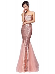 Mermaid Sequins Going Out Dresses Pink Zipper Sleeveless Floor Length