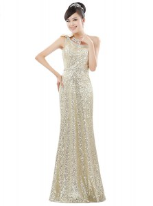 Noble One Shoulder Sequins Floor Length Column/Sheath Sleeveless Champagne Dress for Prom Zipper