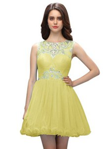 Adorable Organza Scoop Sleeveless Zipper Beading Cocktail Dresses in Light Yellow