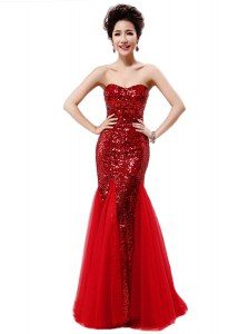 Fine Mermaid Sleeveless Sequins Zipper Homecoming Dress with Wine Red