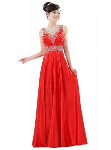 Chiffon Sleeveless Floor Length Prom Dress and Beading