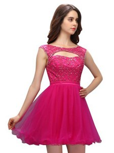 Sleeveless Organza Mini Length Zipper Cocktail Dresses in Fuchsia with Beading and Appliques