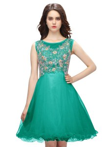 Fabulous Scoop Sleeveless Cocktail Dress Mini Length Embroidery Turquoise Organza