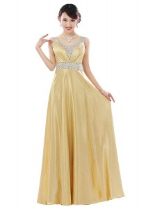 Gold Column/Sheath Chiffon V-neck Sleeveless Beading Floor Length Zipper Evening Wear