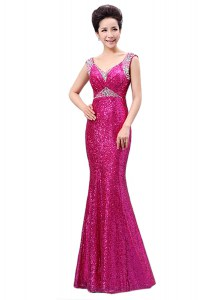 Fuchsia V-neck Neckline Sequins Pageant Dresses Sleeveless Zipper