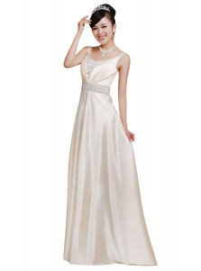 New Style White Sleeveless Floor Length Beading Zipper