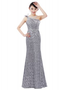 New Style Silver Sequined Zipper One Shoulder Sleeveless Floor Length Prom Dresses Sequins