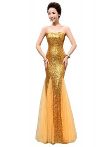 Mermaid Sequined Sleeveless Floor Length Prom Gown and Sequins