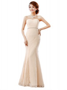 Luxury Peach Sleeveless Lace Zipper Prom Gown