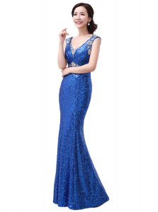 Pretty Royal Blue Zipper V-neck Sequins Sequined Sleeveless