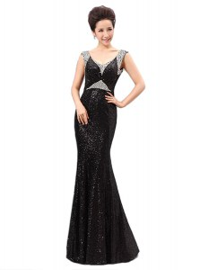 Ideal Floor Length Black Prom Dress Sequined Sleeveless Sequins