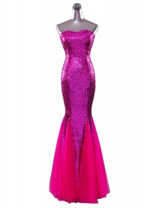 Amazing Mermaid Sleeveless Sequined Floor Length Zipper Homecoming Dress in Fuchsia with Sequins