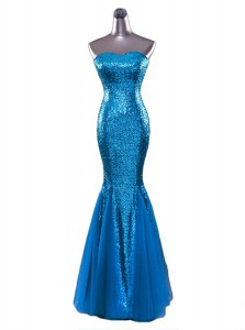 Blue Mermaid Sequined Strapless Sleeveless Sequins Floor Length Zipper Prom Dresses