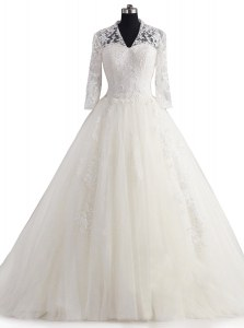 Sumptuous With Train Zipper Wedding Gown White for Wedding Party with Appliques Brush Train