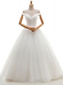 Exquisite White Tulle Lace Up Off The Shoulder Sleeveless Floor Length Wedding Gowns Ruching