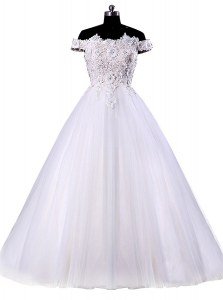 On Sale White A-line Off The Shoulder Sleeveless Tulle Floor Length Lace Up Appliques Wedding Dress