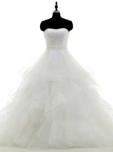 Charming Sleeveless Organza Floor Length Clasp Handle Bridal Gown in White with Beading and Ruffles