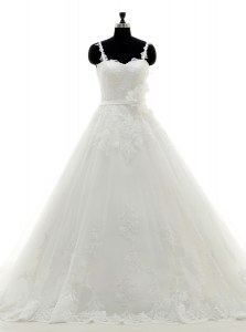 Sleeveless Tulle With Brush Train Side Zipper Wedding Gown in White with Lace and Appliques and Hand Made Flower