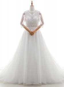 Decent Scoop Organza 3 4 Length Sleeve With Train Wedding Dress Brush Train and Beading and Lace