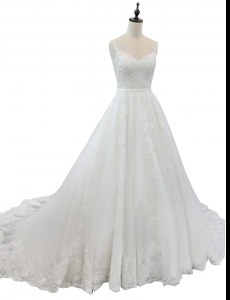White Zipper Straps Appliques Wedding Gown Tulle Sleeveless Chapel Train